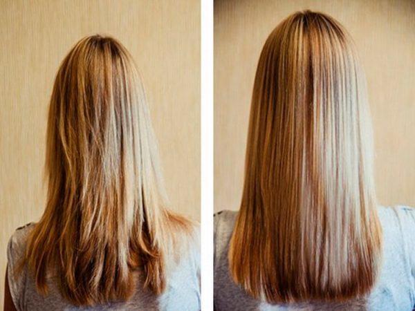 Волосы до и после маски с желтком