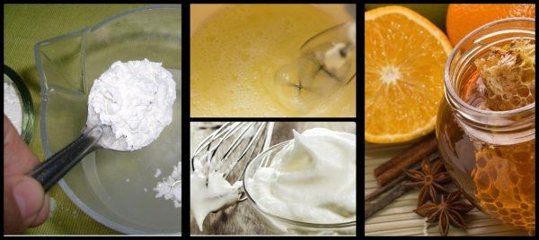 Ингредиенты для приготовления белково-крахмальной маски