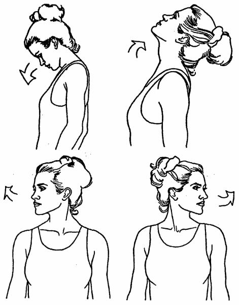 Женщина делает наклоны головой вперёд и назад, вправо и влево