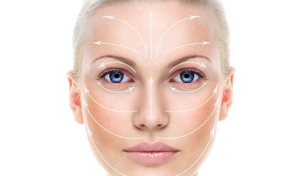 Массажные линии на лице женщины